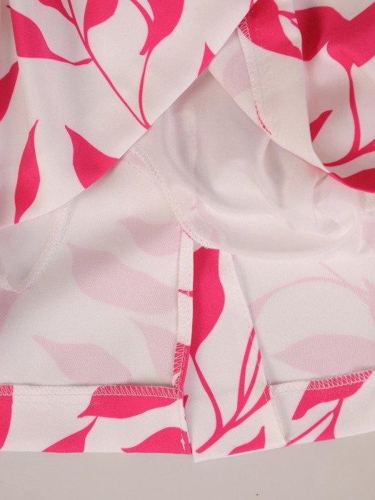 Prosta sukienka w kontrastowe liście, wizytowa kreacja wyszczuplająca 20313