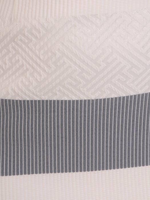 Prosta sukienka w pasy, kreacja z ozdobnym dekoltem 28211