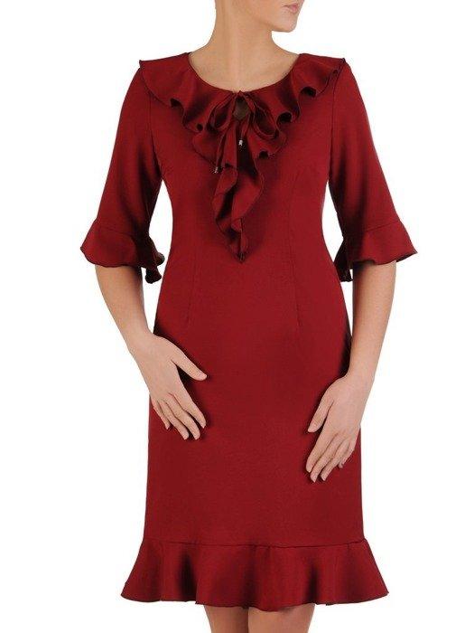 Prosta sukienka z falbanami i ozdobny dekoltem 24696
