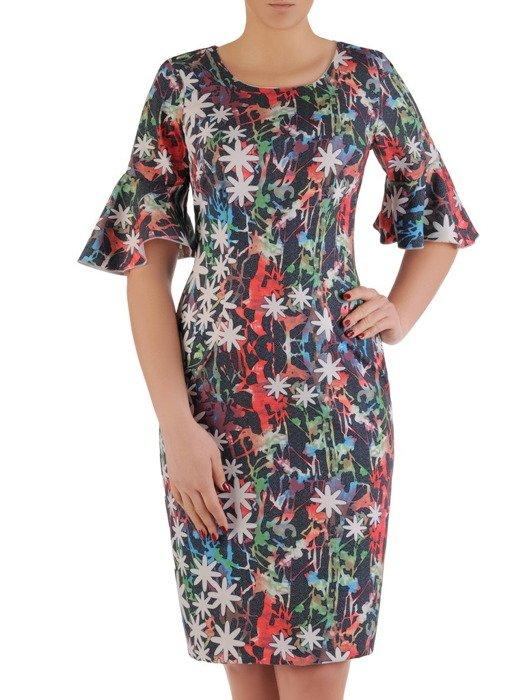Prosta sukienka z modnymi rękawami, wzorzysta kreacja wizytowa 19448
