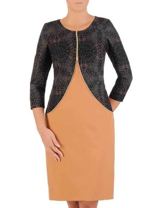 Prosta sukienka z ozdobnym złotym zamkiem, modna kreacja wyszczuplająca 27287