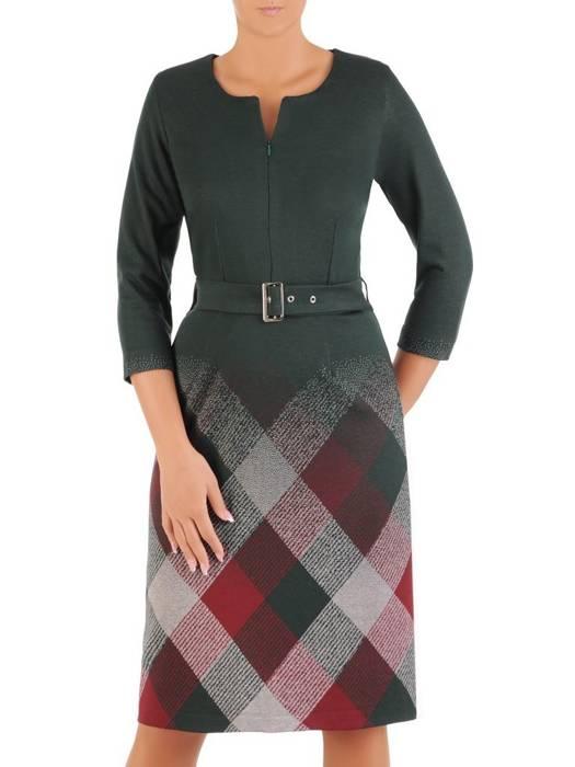 Prosta sukienka z paskiem, kreacja z zamkiem przy dekolcie 27007