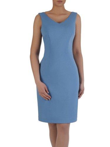 Prosta sukienka z szyfonową narzutką 15744, elegancki komplet wizytowy.