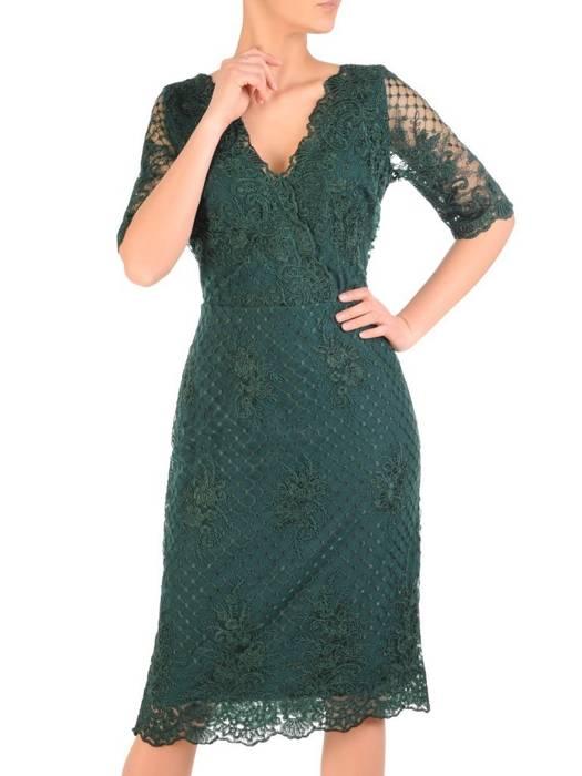 Prosta sukienka zielona z kopertowym dekoltem, kreacja na wesele 29459