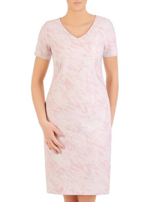 Prosta, żakardowa sukienka w kolorze pudrowego różu 29064