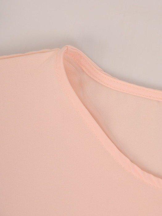 Pudrowa bluzka z tkaniny 25879