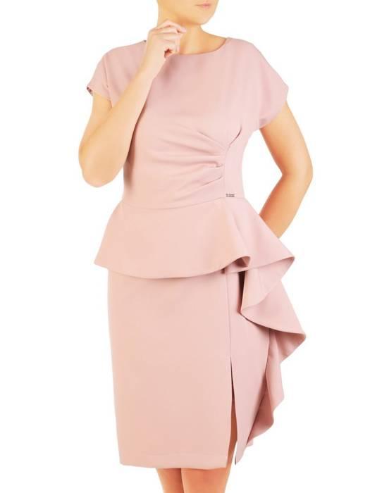 Pudrowa sukienka wizytowa z efektowną baskinką 30458