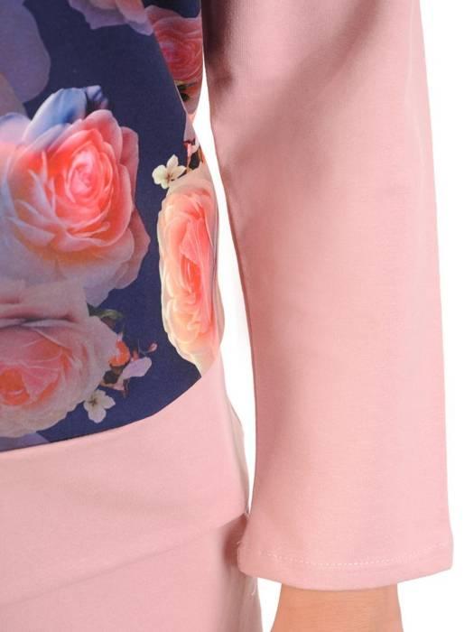 Pudrowy komplet dresowy w kwiatowy wzór 29693