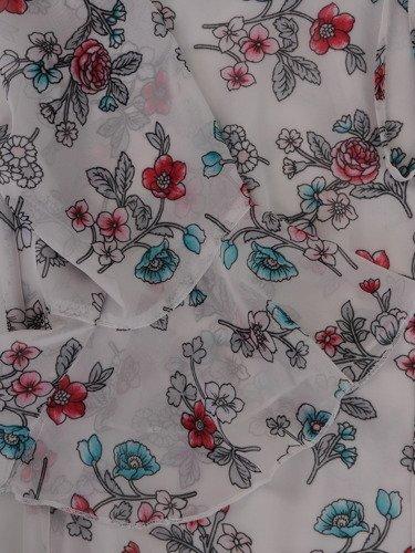 Romantyczna sukienka z obniżoną talią 15535, wiosenna kreacja z falbaną.