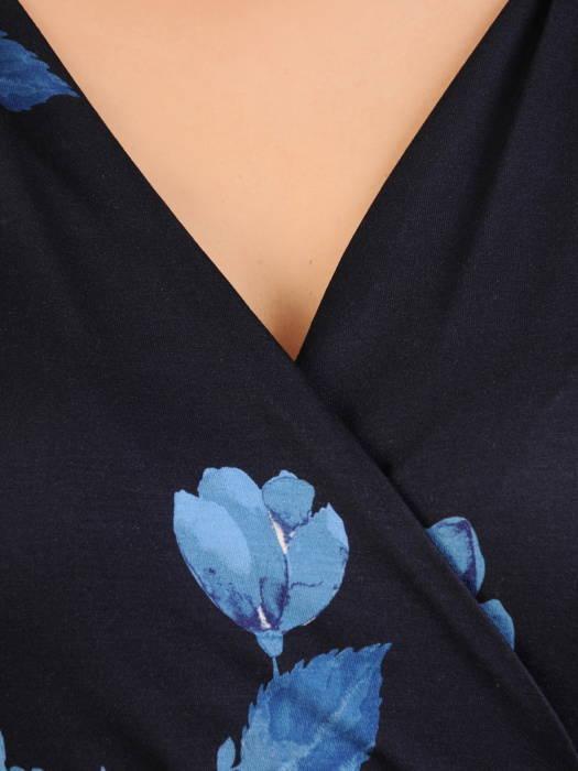 Rozkloszowana sukienka damska z dekoltem w kształcie litery V 30936