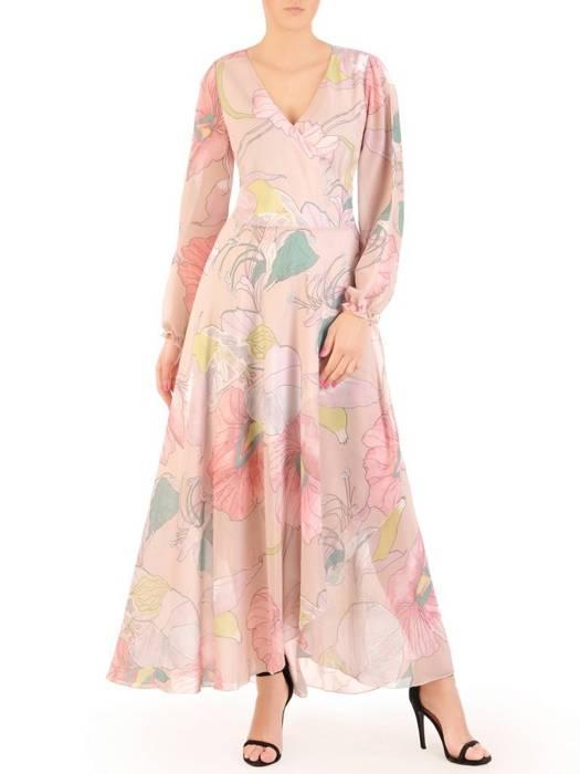 Rozkloszowana sukienka maxi, kopertowa kreacja z szyfonu 29991