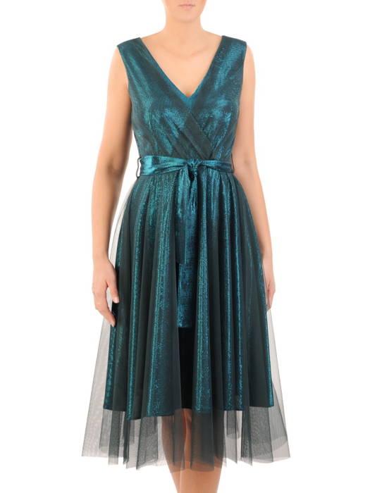 Rozkloszowana sukienka na wesele, kreacja z połyskującego materiału 30750