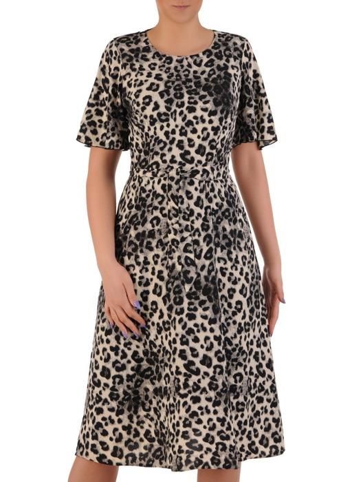 Rozkloszowana sukienka w cętki, modna kreacja z wiązaniem w pasie 20541