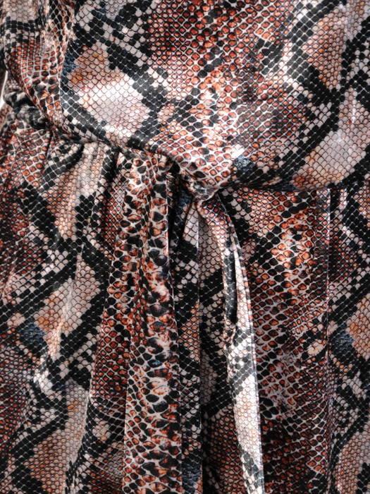Rozkloszowana sukienka w zwierzęcy wzór, wyszczuplająca kreacja z paskiem 30742