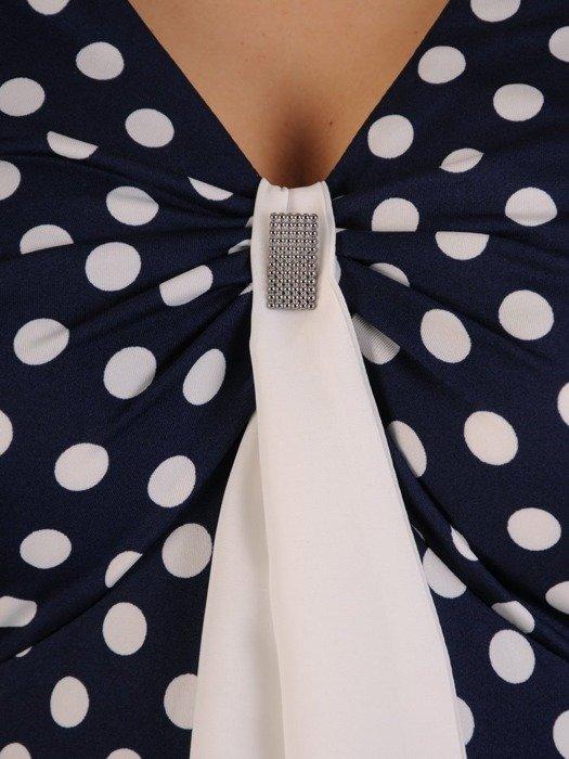 Rozkloszowana sukienka z granatowej dzianiny 25190