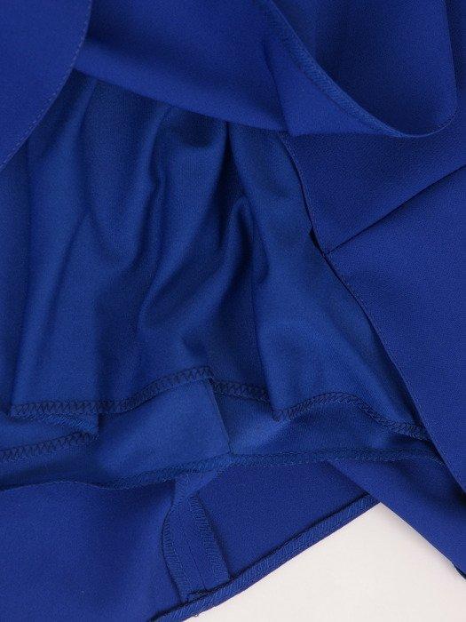 Rozkloszowana sukienka z modnymi rękawami 18312, chabrowa kreacja wizytowa.