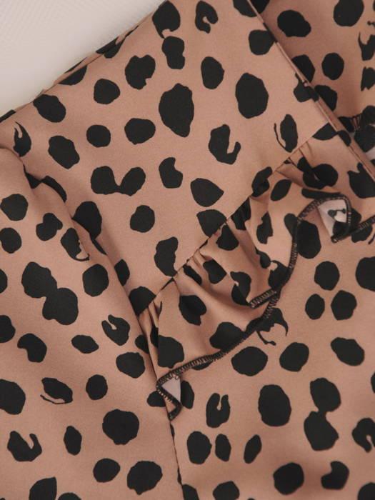 Rozkloszowana sukienka z ozdobnymi falbanami w zwierzęcym wzorze 31093