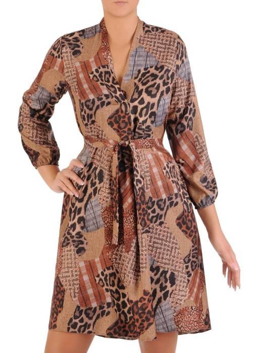 Rozkloszowana sukienka z paskiem, kreacja z gumkami na rękawach 27194