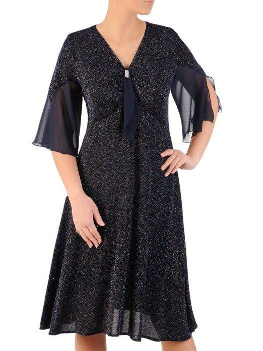 Rozkloszowana sukienka z połyskującej dzianiny 24268