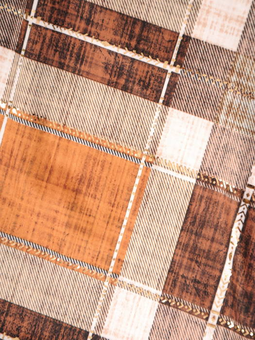 Rozpinana bluzka z ozdobnymi patkami w modną kratę 30988