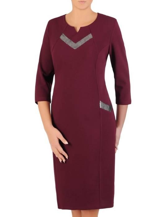 Śliwkowa sukienka z ozdobnym dekoltem 27491