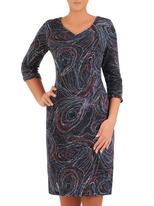 Sukienka codzienna, prosta kreacja w geometrycznym wzorze 27544