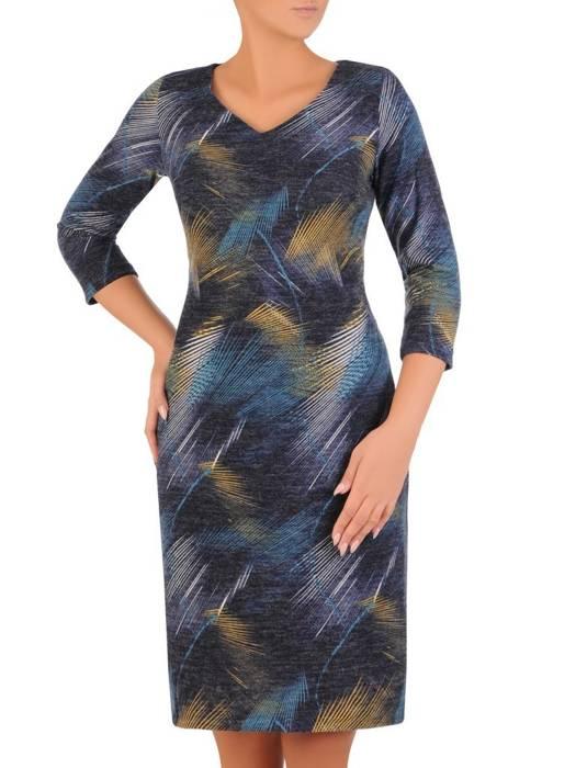 Sukienka codzienna, prosta kreacja w geometrycznym wzorze 27693
