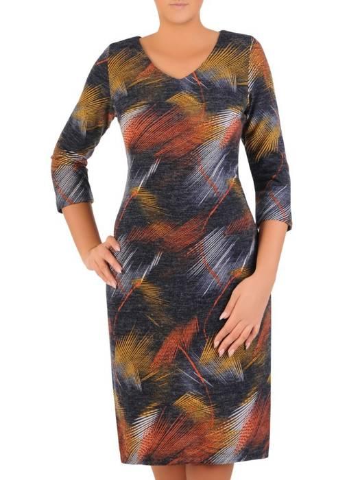 Sukienka codzienna, prosta kreacja w geometrycznym wzorze 27699