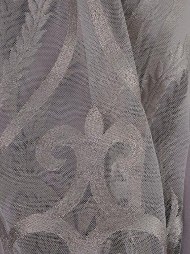 Sukienka damska 15100, popielata kreacja z koronkowymi rękawami.