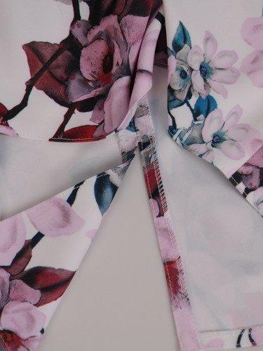 Sukienka damska 16581, prosta kreacja w kwiaty.