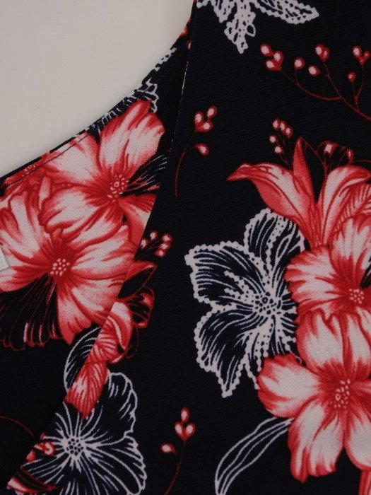 Sukienka damska 17193, prosta kreacja w kwiaty.