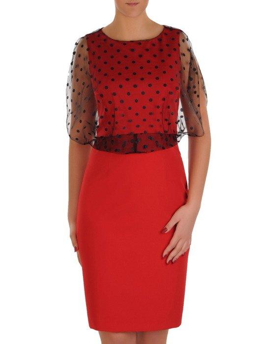 Sukienka damska 18943, czerwona kreacja w fasonie maskującym brzuch.