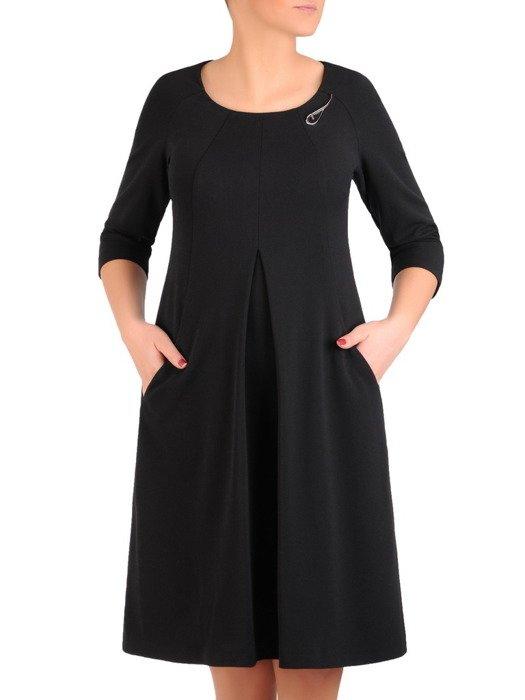 Sukienka damska 19104, czarna kreacja w luźnym fasonie z kieszeniami.