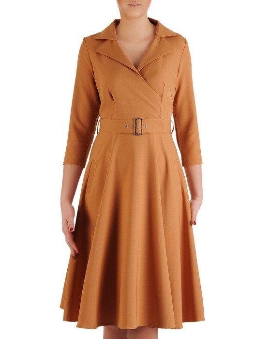 Sukienka damska 19383, rozkloszowana kreacja z paskiem.