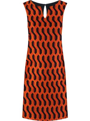 Sukienka damska Efrema I, jesienna kreacja w wyszczuplającym wzorze.