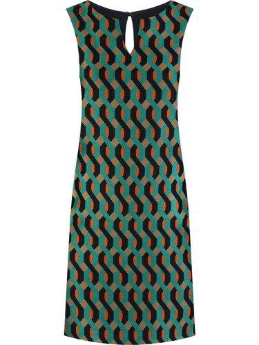 Sukienka damska Efrema II, jesienna kreacja w wyszczuplającym wzorze.