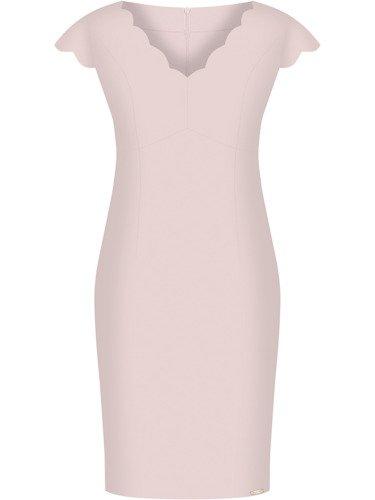 Sukienka damska Faustyna IV, kreacja z oryginalnym dekoltem.