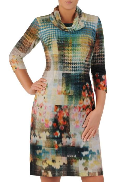 Sukienka damska Krystyna XXX, wyszczuplająca kreacja z kominem.