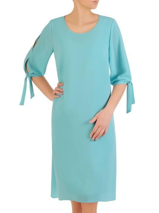 Sukienka damska, miętowa kreacja z oryginalnymi rękawami 29375