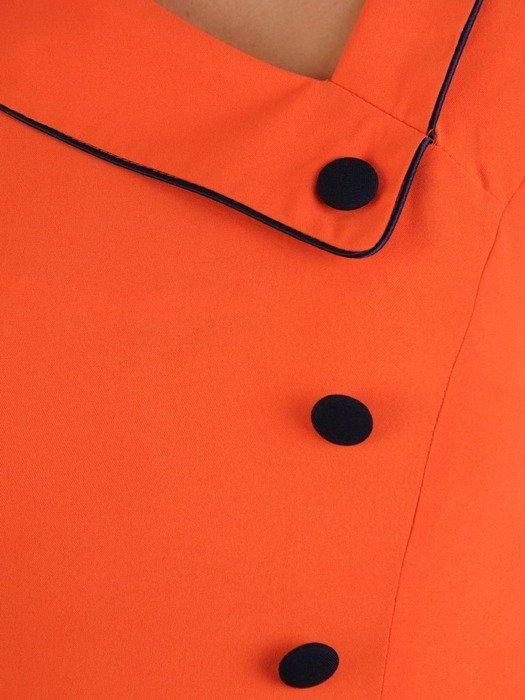 Sukienka damska, pomarańczowa kreacja z kontrastowymi wstawkami 26226