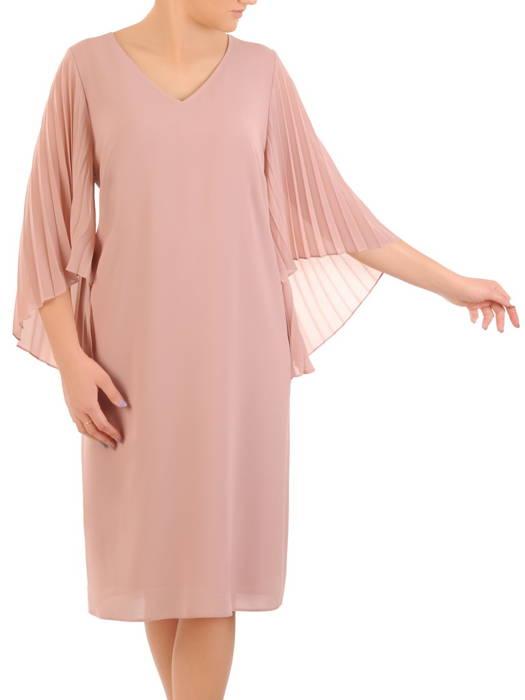 Sukienka damska, pudrowa kreacja z plisowanymi rękawami 31262
