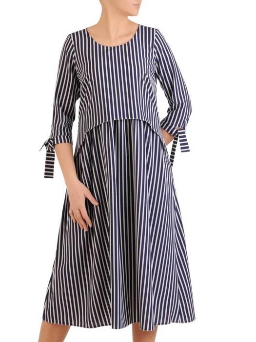 Sukienka damska w paski, wizytowa kreacja w luźnym fasonie 28870