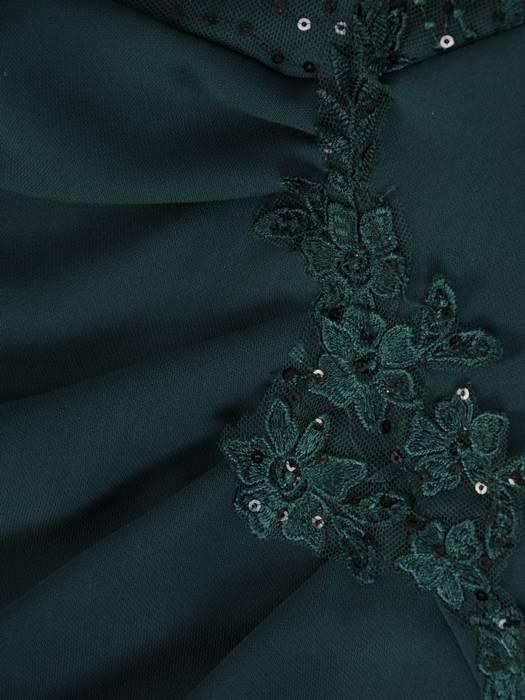 Sukienka damska, zielona kreacja z koronki i tkaniny 27014