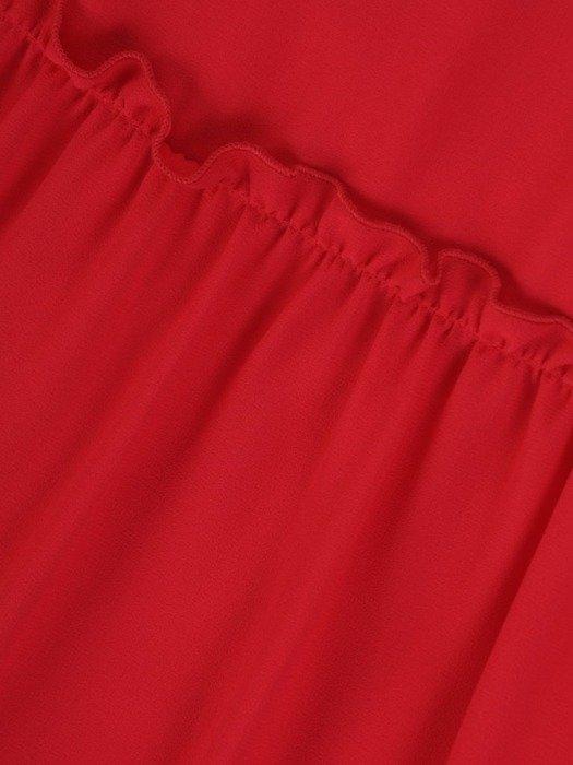 Sukienka koktajlowa, koralowa kreacja z falbanami 25988
