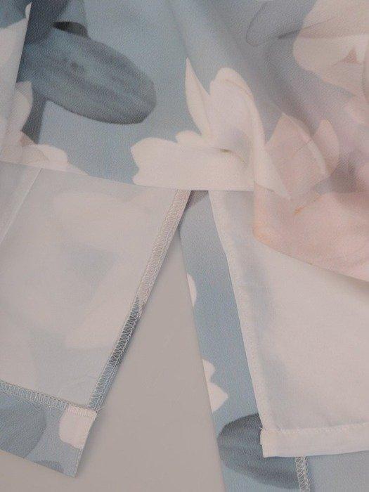 Sukienka koktajlowa, pastelowa kreacja w kwiaty 26013