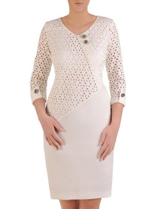 Sukienka koktajlowa, wiosenna kreacja z łączonych materiałów 25813