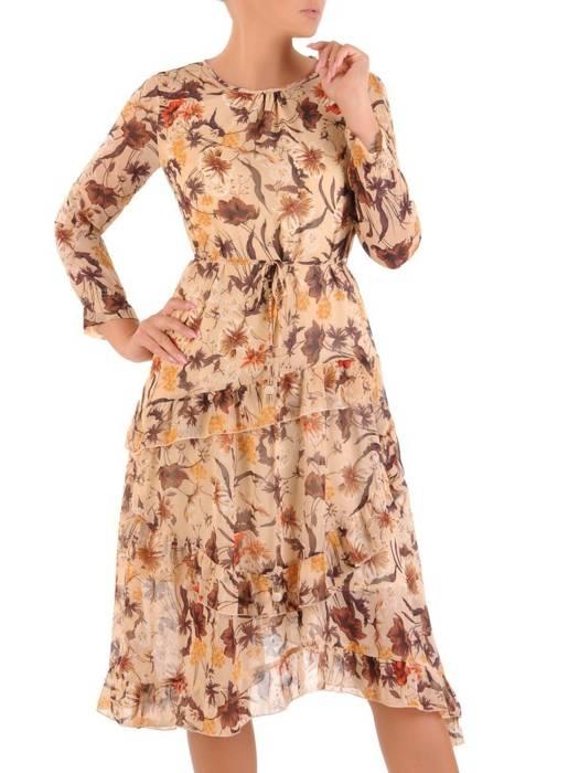 Sukienka koktajlowa, zwiewna kreacja z szyfonu 29016
