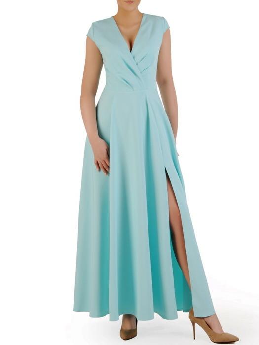 Sukienka kopertowa, miętowa kreacja z rozcięciem 20760.