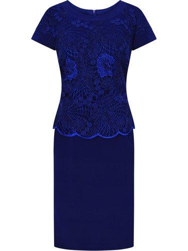 Sukienka na wesele Jagoda III, elegancka kreacja z dodatkiem gipiury.