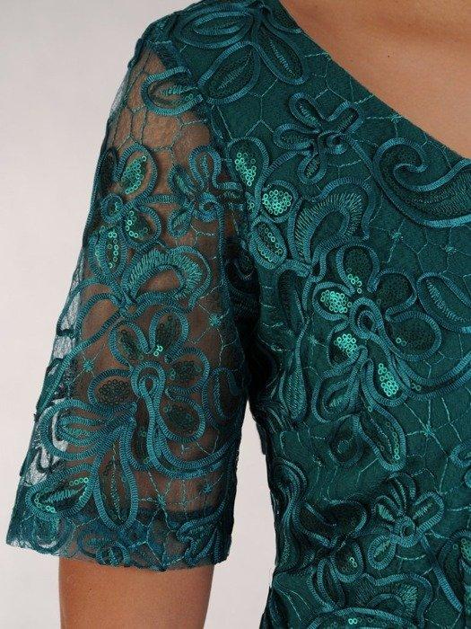 Sukienka na wesele, wyszczuplająca kreacja z koronki i tkaniny 24810